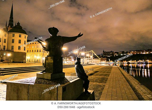 STOCKHOLM, Sweden Island of Riddarholmen and statue of Evert Taube, a national troubadour