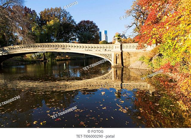 Footbridge over lake in Central Park