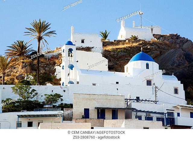 View to the blue domed church in the old town Chora, Ios, Cyclades Islands, Greek Islands, Greece, Europe