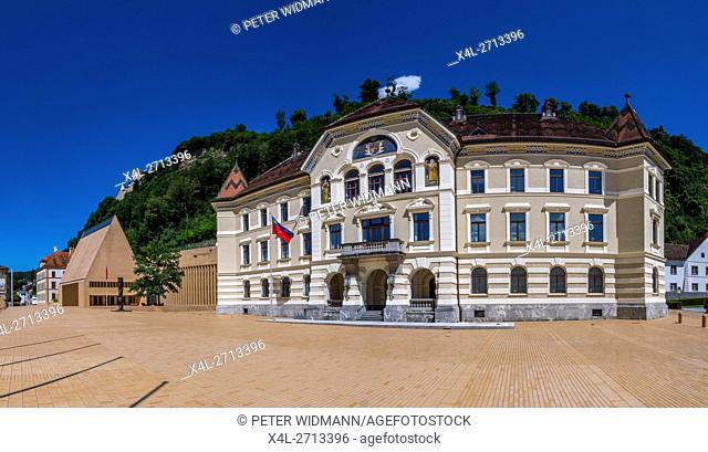 Old and new parliament in Vaduz, Principality of Liechtenstein, Europe