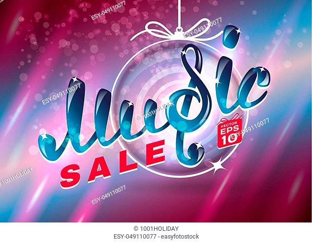 Music christmas SALE, vector illustration for your design, EPS10, easy editable