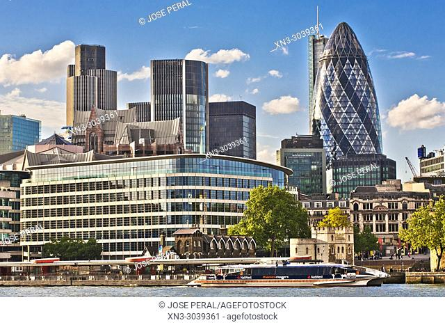 City of London Skyline, River Thames, London, England, UK, United Kingdom, Europe