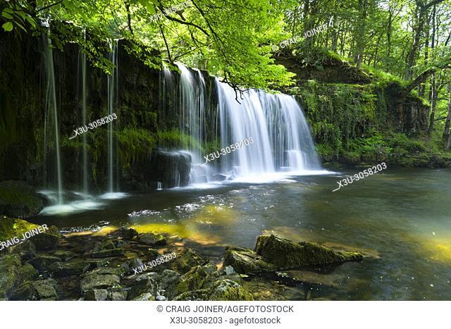 Sgwd Ddwli Uchaf (Upper Gushing Falls) waterfall on the Nedd Fechan in the Brecon Beacons National Park near Pontneddfechan, Powys, Wales