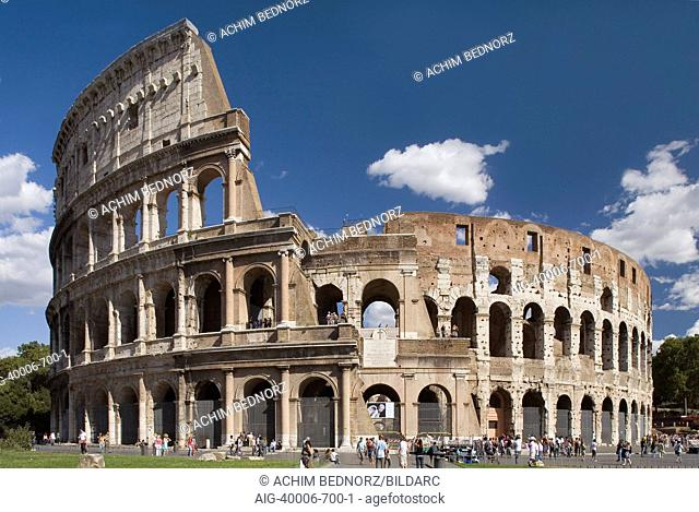 Roman Colosseum, an elliptical amphitheatre, the largest built in Roman Empire, in Rome, Italy