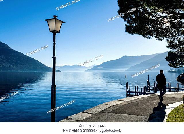 Switzerland, Ticino, Ascona, resort on the shore of Lake Maggiore