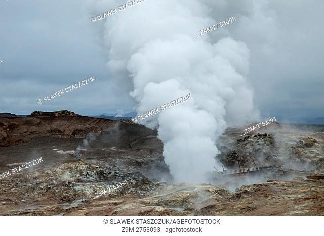 Steaming geyser in south west Iceland