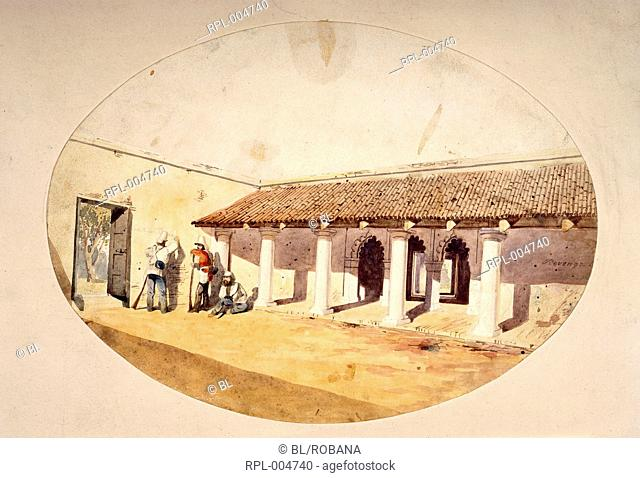 Courtyard of the Slaughter House, Cawnpore U.P., during the Mutiny. A soldier is writing on the wall 'Countrymen Revenge'. Watercolour