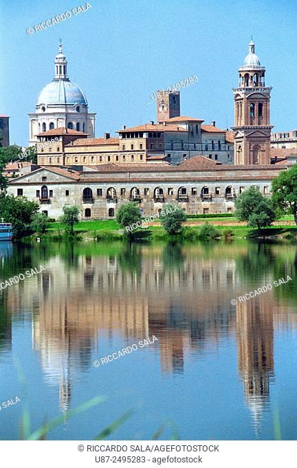 Italy, Lombardy, Mantova's Old Town Skyline from 'Lago Inferiore'. . . .