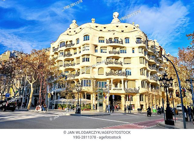 La Pedrera building design by Antoni Gaudi, Barcelona, Catalonia, Spain