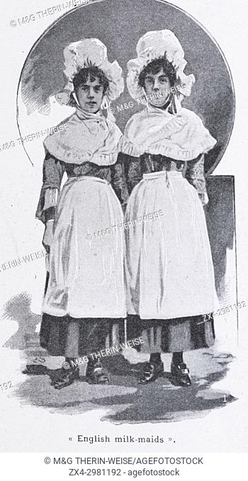 English Milkmaids, Women of the Universal Exhibition 1900 in Paris, Picture from the French weekly newspaper l'Illustration, 13th October 1900