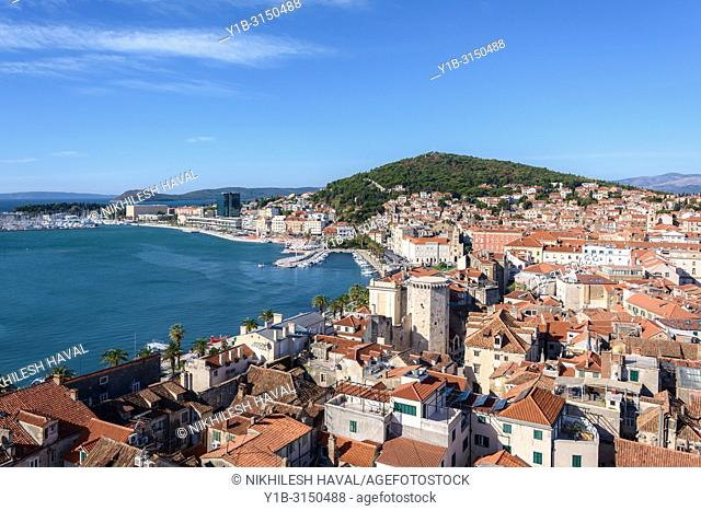 Aerial view of Split from St. Domnius Bell Tower, Croatia