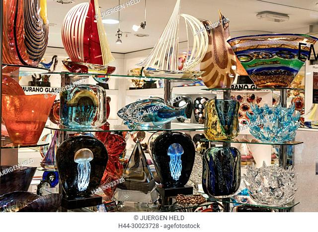Murano Glass in Shop window , Venedig, Venezia, Venice, Veneto, Italy, Italia, Europe