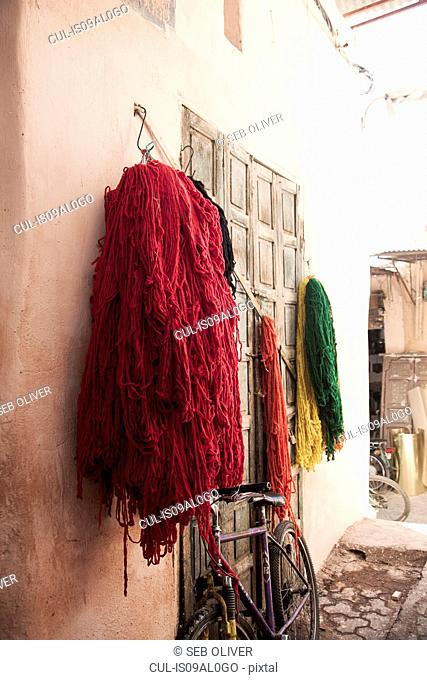 Dyed textiles hanging to dry, Dyers District off Jamaa el Fna Square, Marrakech, Morocco