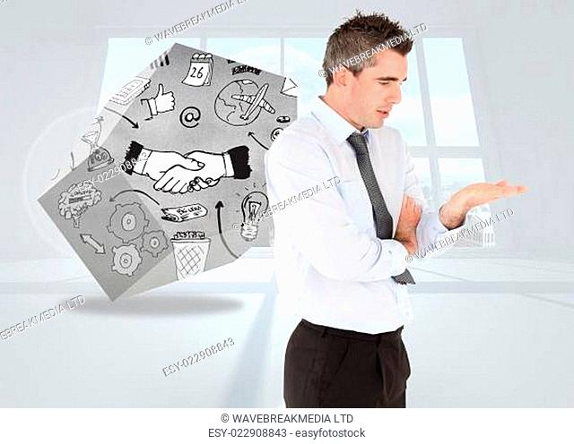 Composite image of businessman presenting hand