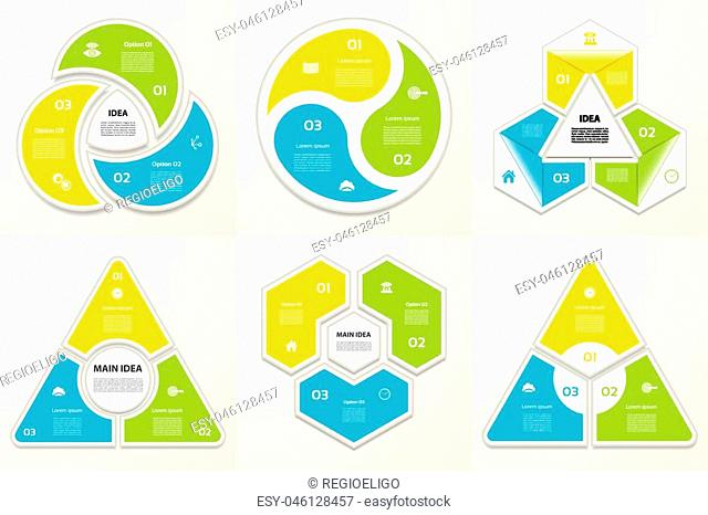 Collection of Infographic Templates for Business. Three steps cycling diagrams. Vector Illustration