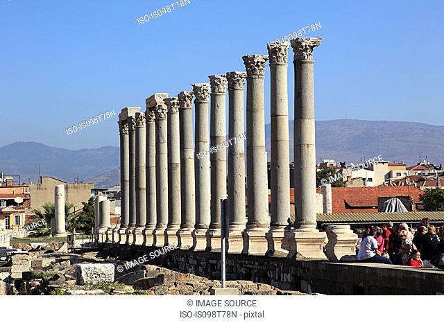 Roman columns of agora in izmir turkey