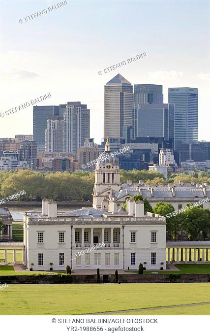 View from Greenwich over Queens House Royal Naval College and Canary Wharf, London, UK