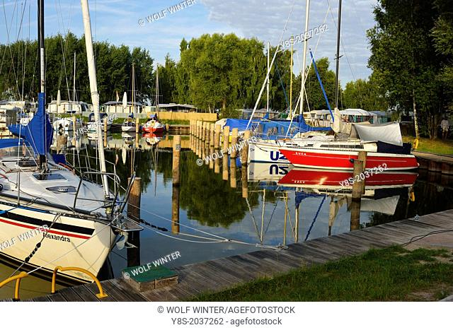 Harbour and campground at Stagniess, Usedom Island, Germany
