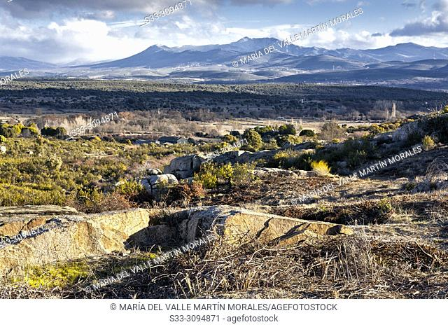 Sierra Norte from the Cabreras on a sunny day. Madrid. Spain