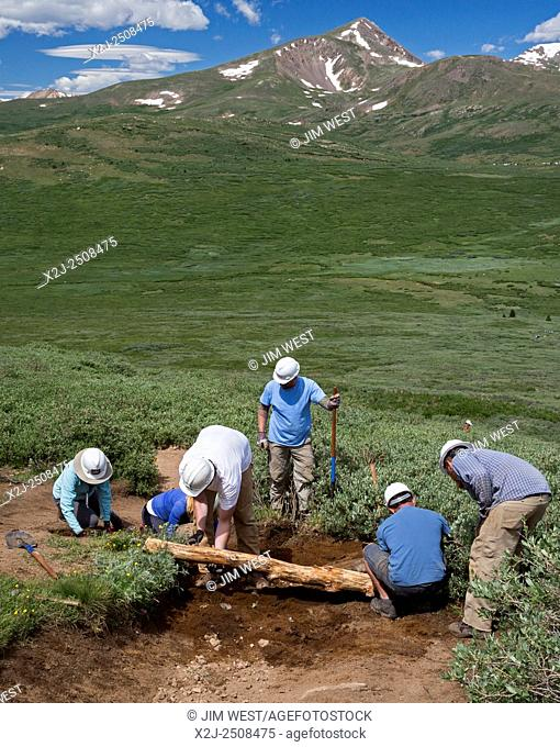Georgetown, Colorado - Volunteers maintain the Mt. Bierstadt Trail in the Mt. Evans Wilderness Area. They installed logs (waterbars) across the trail to stop...