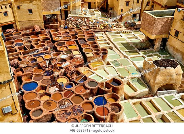MOROCCO, FEZ, 23.05.2016, refurbished Chouwara traditional leather tannery in Old Fez, Morocco, Africa - Fez, Morocco, 23/05/2016
