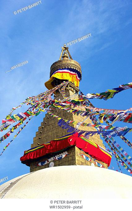 All seeing eyes of the Buddha, Boudhanath Stupa, UNESCO World Heritage Site, Kathmandu, Nepal, Asia