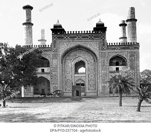 old vintage lantern slide of entrance to Akbar Tomb complex, sikandra, Agra, uttar pradesh, India, Asia