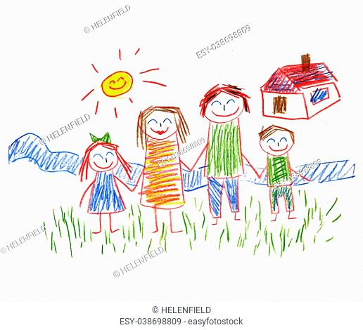 Happy parents and children. Naive kids drawing