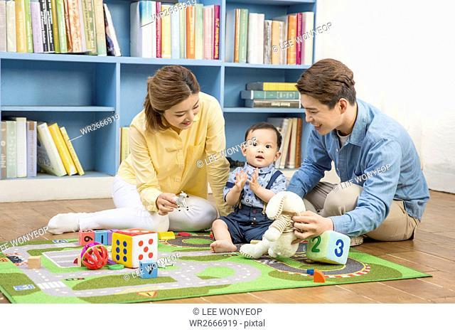 Harmonious family with baby