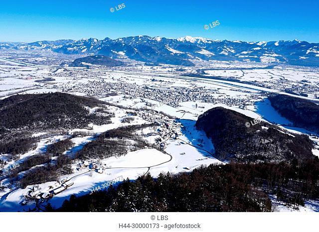 Luftaufnahme Gemeinde Oberriet, Rheintal