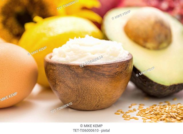 Fresh open coconut and avocado