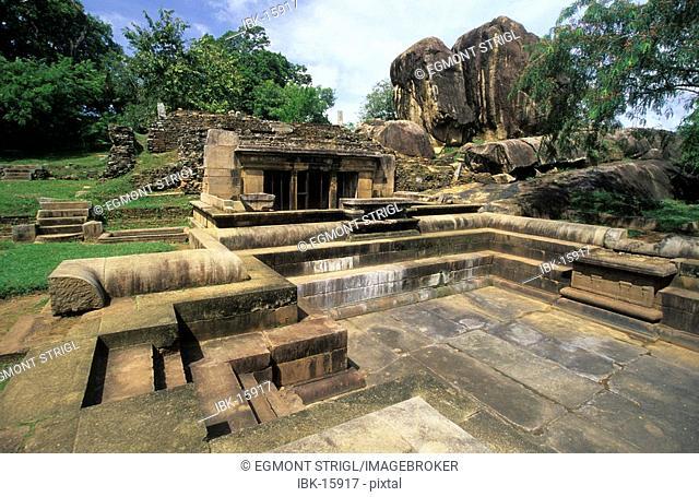 Ruins of the royal baths at Anuradhapura, Unesco World Heritage Site, Sri Lanka