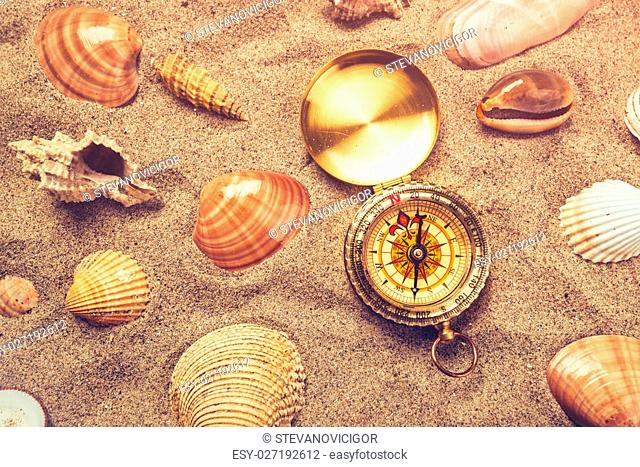 Top view of vintage compass and sea shells on sandy beach, navigational equipment in warm brown sand of summer holiday vacation resort pointing to south