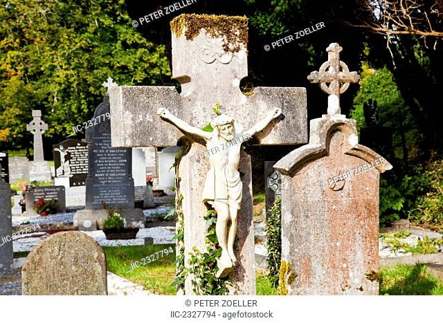 Old tombstones in the cemetery at muckross abbey;Killarney county kerry ireland