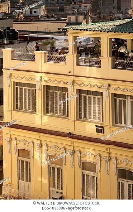 Cuba, Havana, Havana Vieja, detail of the Hotel Plaza