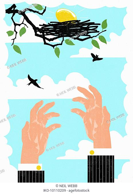 Hands reaching for nest egg out of reach