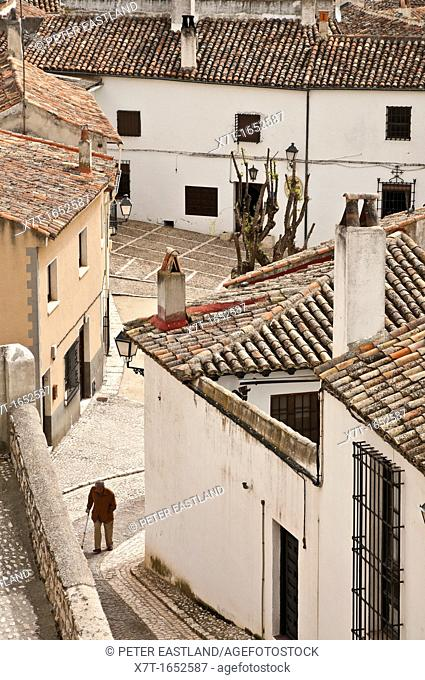 Cobbled streets and tiled rooftops in the little town Chinchon, New Castille, Spain