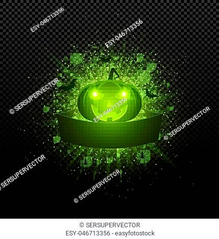 Halloween. Empty ribbon banner. Abstract bright flash of light with green lights. Green cartoon evil pumpkin, spiders and bats