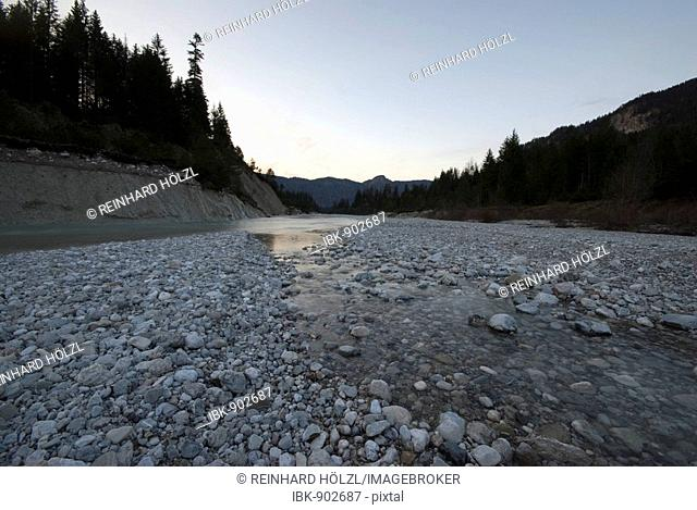 Pebbles in a riverbed, Upper Isar River, Bavaria, Germany, Europe