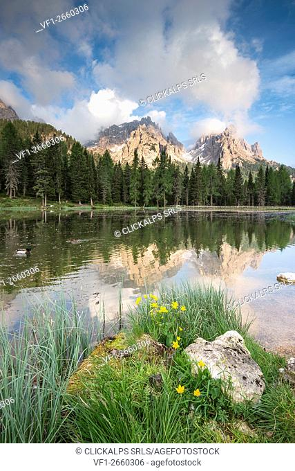 Misurina, Dolomites, Veneto, Italy. The crags of Cadini group are reflected in the lago d'Antorno