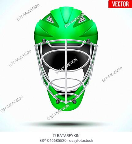 Classic blue Goalkeeper Ice and Field Hockey Helmet isolated on Background. Sport Equipment. Editable Vector illustration isolated on white background
