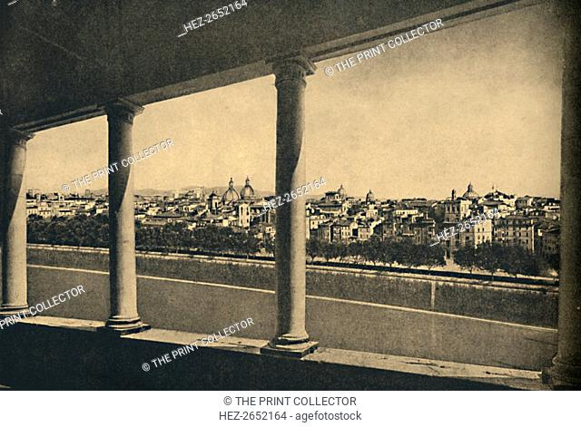 'Roma - View of the City from the Logia by Bramante in Castle St. Angelo', 1910. From Cento Vedute Classiche di Roma. [Enrico Verdesi, Rome, 1910]