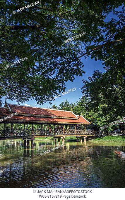 river in central siem reap old town tourist area in cambodia near angkor wat
