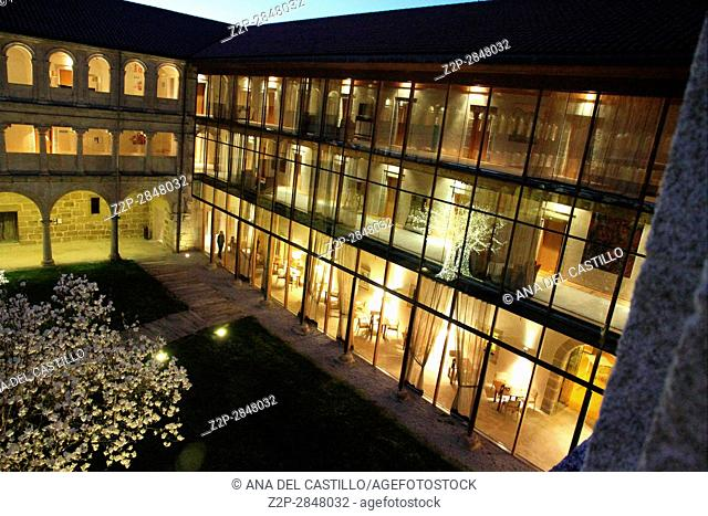 State run hotel, Santo Estevo Monastery, Ourense, Spain. Courtyard by twilight