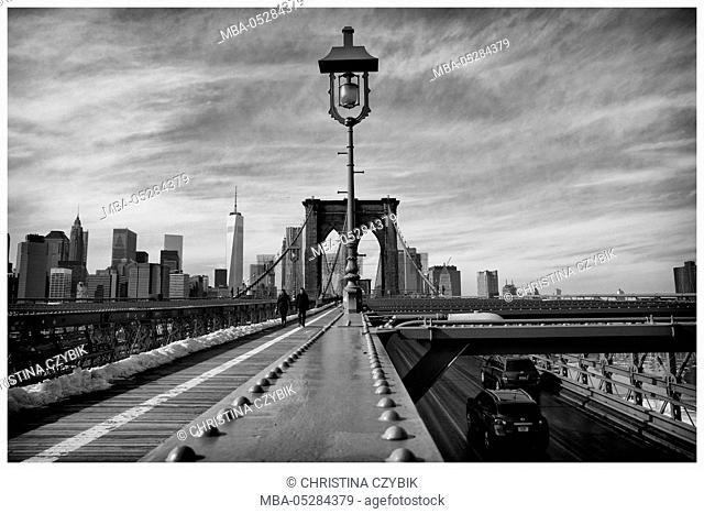 View on the Skyline of Manhattan from Brooklyn Bridge, New York