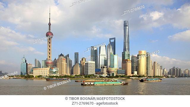 China, Shanghai, Pudong, skyline, Huangpu River,
