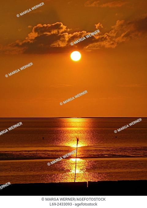 Sunset over Wadden Sea at Elbe estuary, Island Neuwerk, Hamburg, Germany