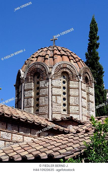 Europe, Greece, Attica, Athens, dome, agio Asomatos, angel church, 11th century, architecture, trees, church, place of interest, landmark, building