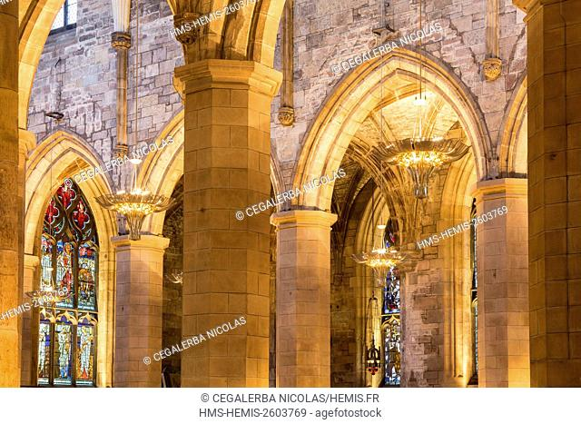 United Kingdom, Scotland, Edinburgh, listed as World Heritage, Interior view of the St Giles' Cathedral dated 12th century