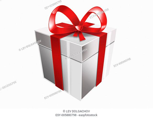 picture of single white gift box with red ribbon